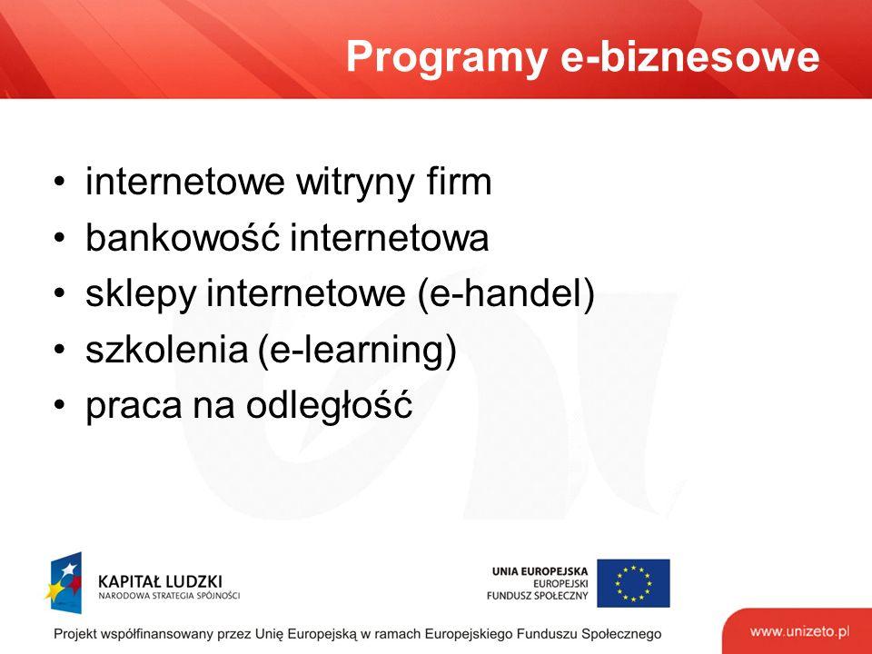 Programy e-biznesowe internetowe witryny firm bankowość internetowa sklepy internetowe (e-handel) szkolenia (e-learning) praca na odległość