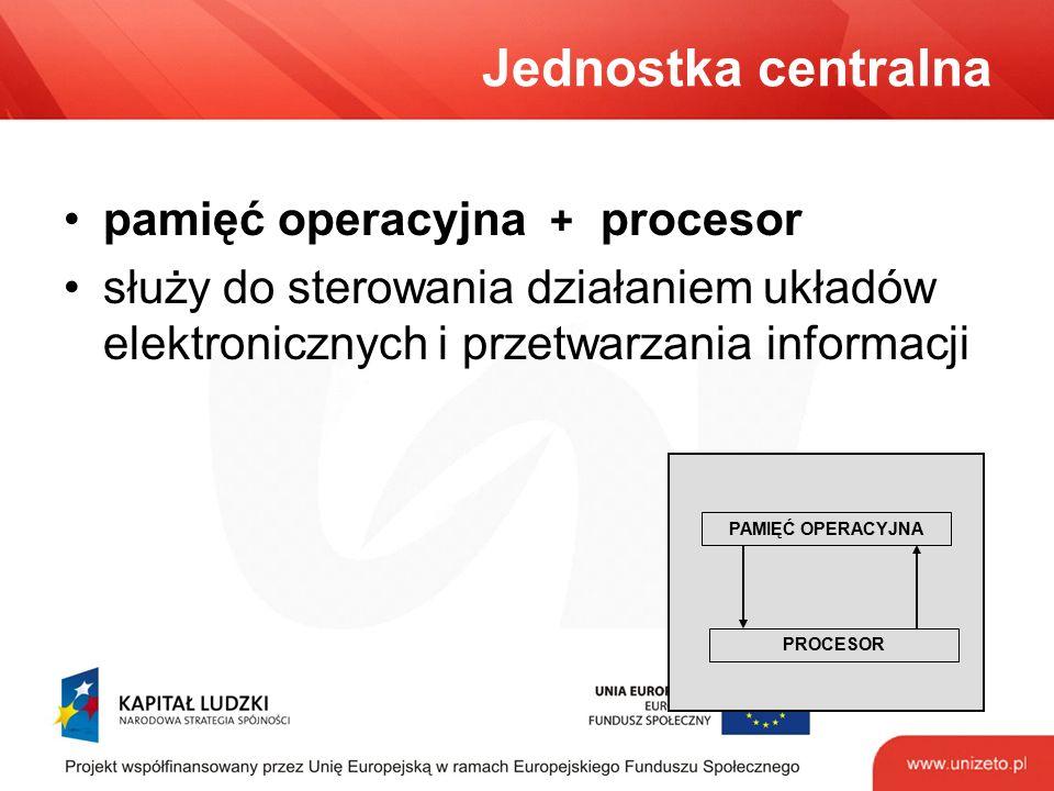Jednostka centralna pamięć operacyjna + procesor służy do sterowania działaniem układów elektronicznych i przetwarzania informacji PAMIĘĆ OPERACYJNA PROCESOR