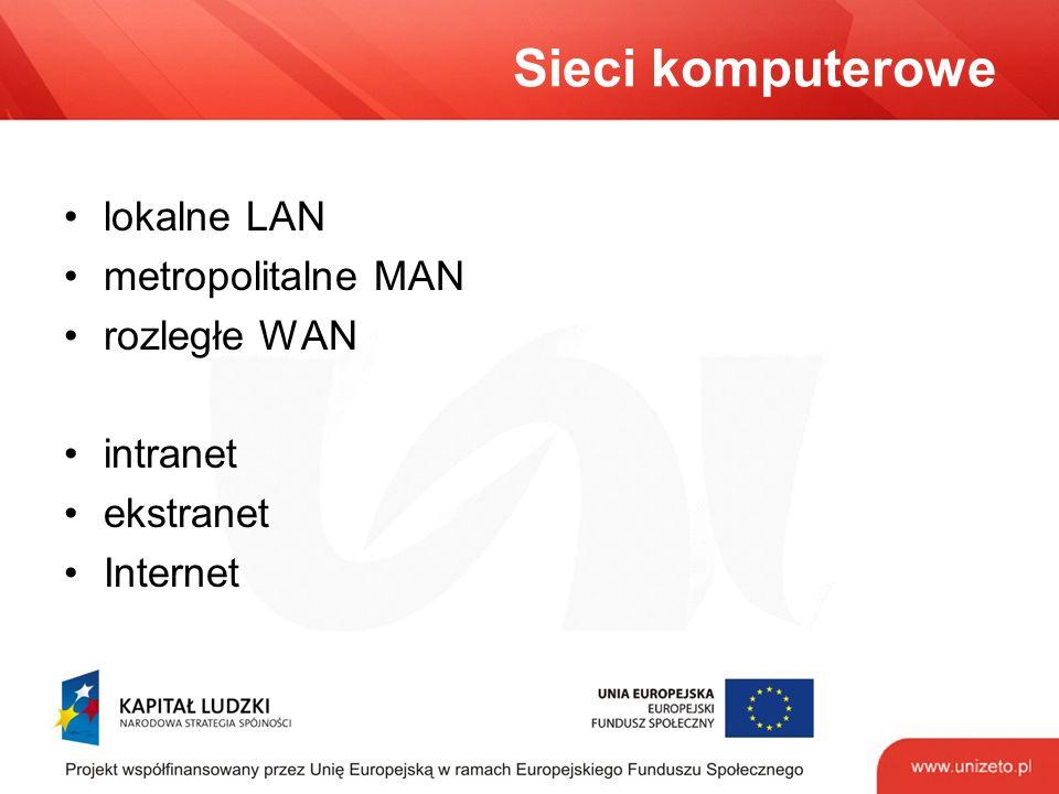 Sieci komputerowe lokalne LAN metropolitalne MAN rozległe WAN intranet ekstranet Internet