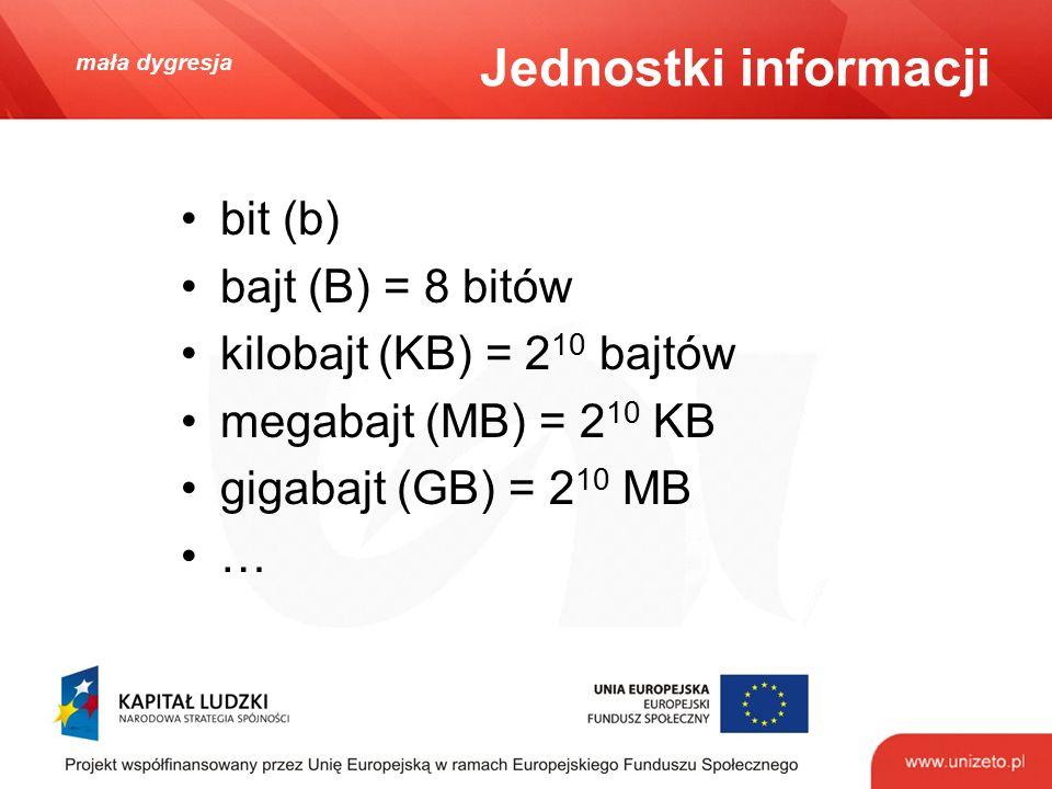 mała dygresja Jednostki informacji bit (b) bajt (B) = 8 bitów kilobajt (KB) = 2 10 bajtów megabajt (MB) = 2 10 KB gigabajt (GB) = 2 10 MB …
