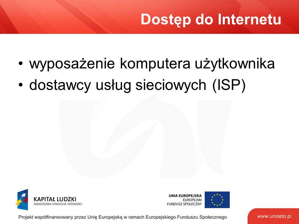 Dostęp do Internetu wyposażenie komputera użytkownika dostawcy usług sieciowych (ISP)