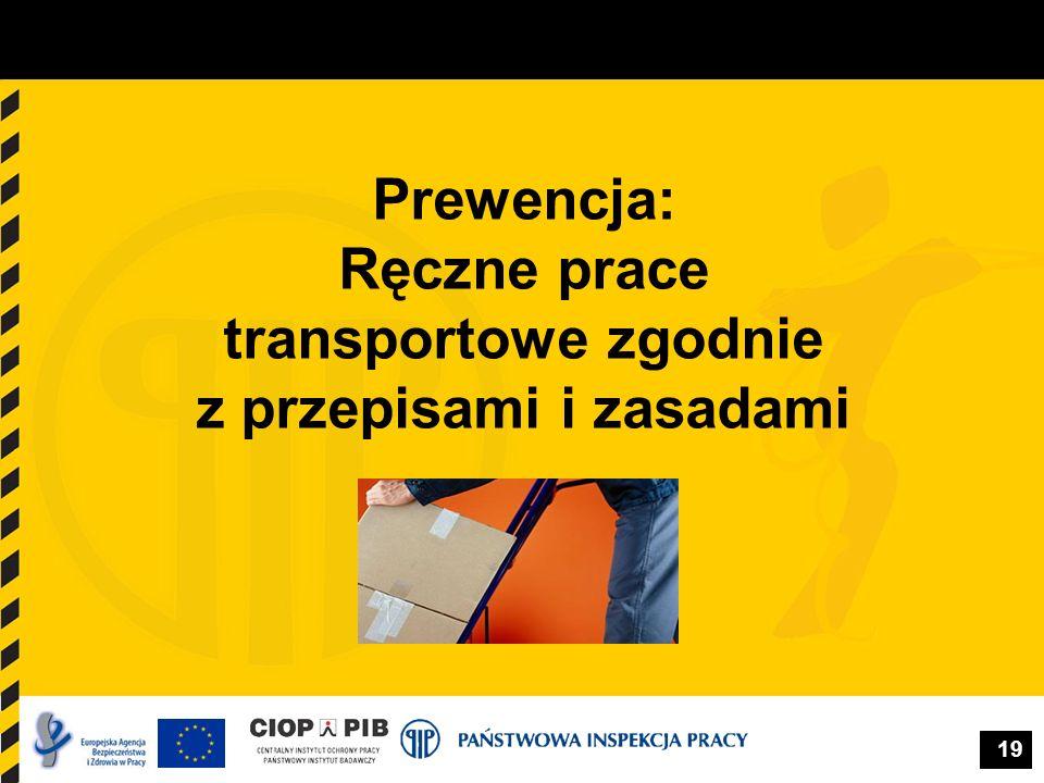 19 Prewencja: Ręczne prace transportowe zgodnie z przepisami i zasadami