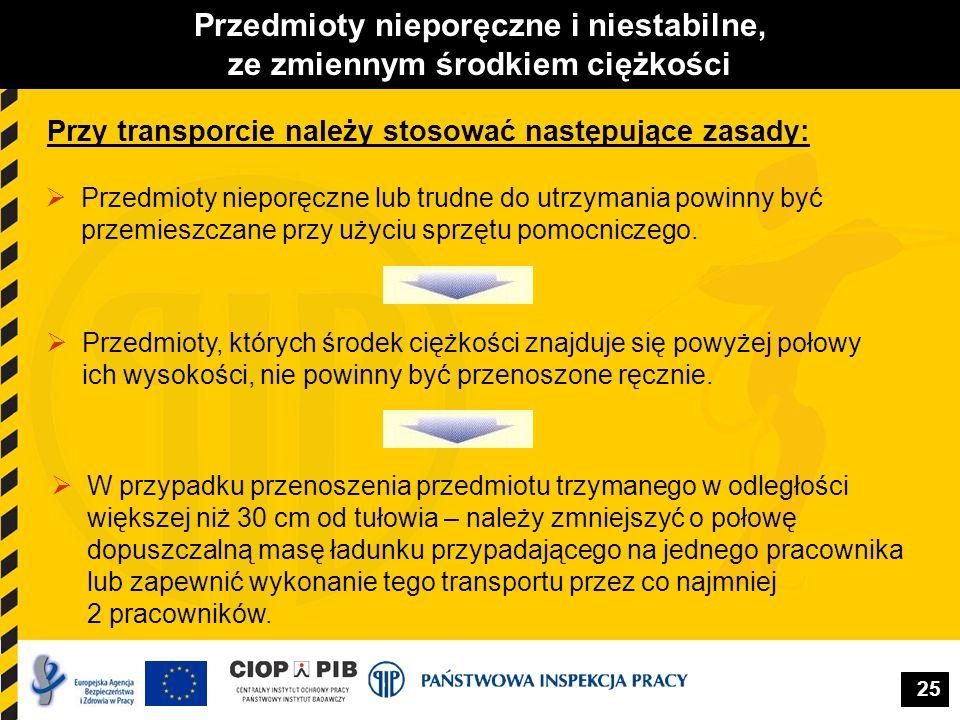 25 Przedmioty nieporęczne i niestabilne, ze zmiennym środkiem ciężkości Przy transporcie należy stosować następujące zasady:  Przedmioty nieporęczne