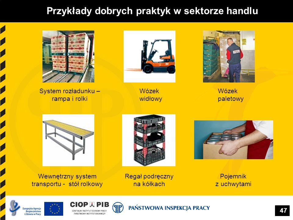 47 Przykłady dobrych praktyk w sektorze handlu Wewnętrzny system transportu - stół rolkowy Wózek paletowy Pojemnik z uchwytami Regał podręczny na kółk