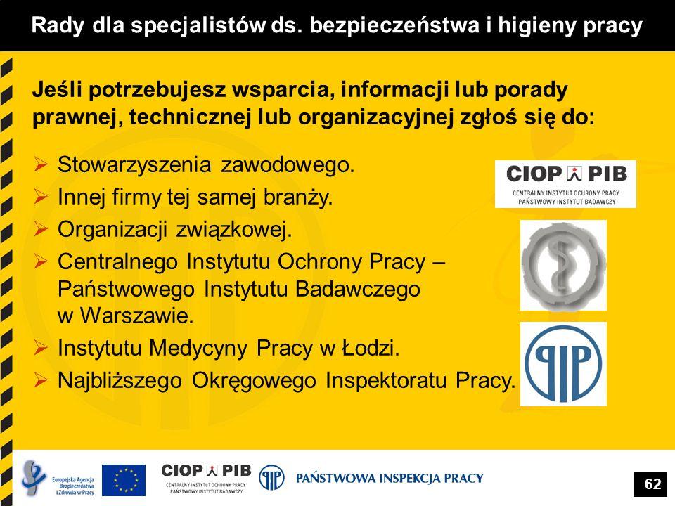 62 Rady dla specjalistów ds. bezpieczeństwa i higieny pracy  Stowarzyszenia zawodowego.  Innej firmy tej samej branży.  Organizacji związkowej.  C