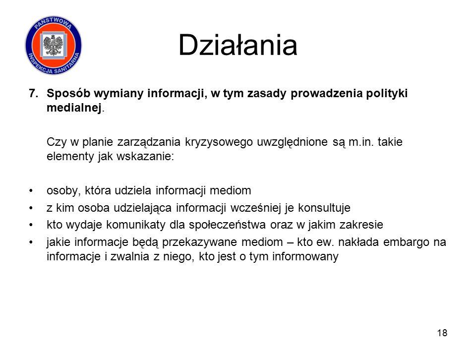 Działania 7.Sposób wymiany informacji, w tym zasady prowadzenia polityki medialnej.