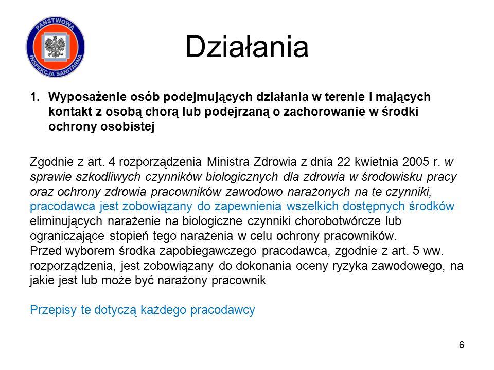 Działania 1.Wyposażenie osób podejmujących działania w terenie i mających kontakt z osobą chorą lub podejrzaną o zachorowanie w środki ochrony osobistej Zgodnie z art.