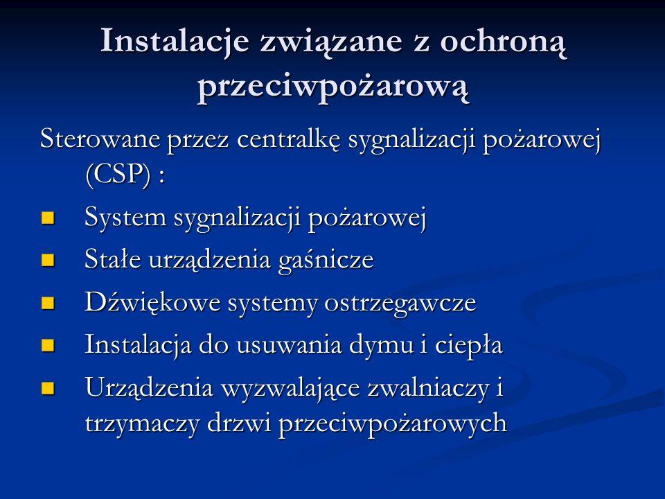 Instalacje związane z ochroną przeciwpożarową Sterowane przez centralkę sygnalizacji pożarowej (CSP) : System sygnalizacji pożarowej System sygnalizac