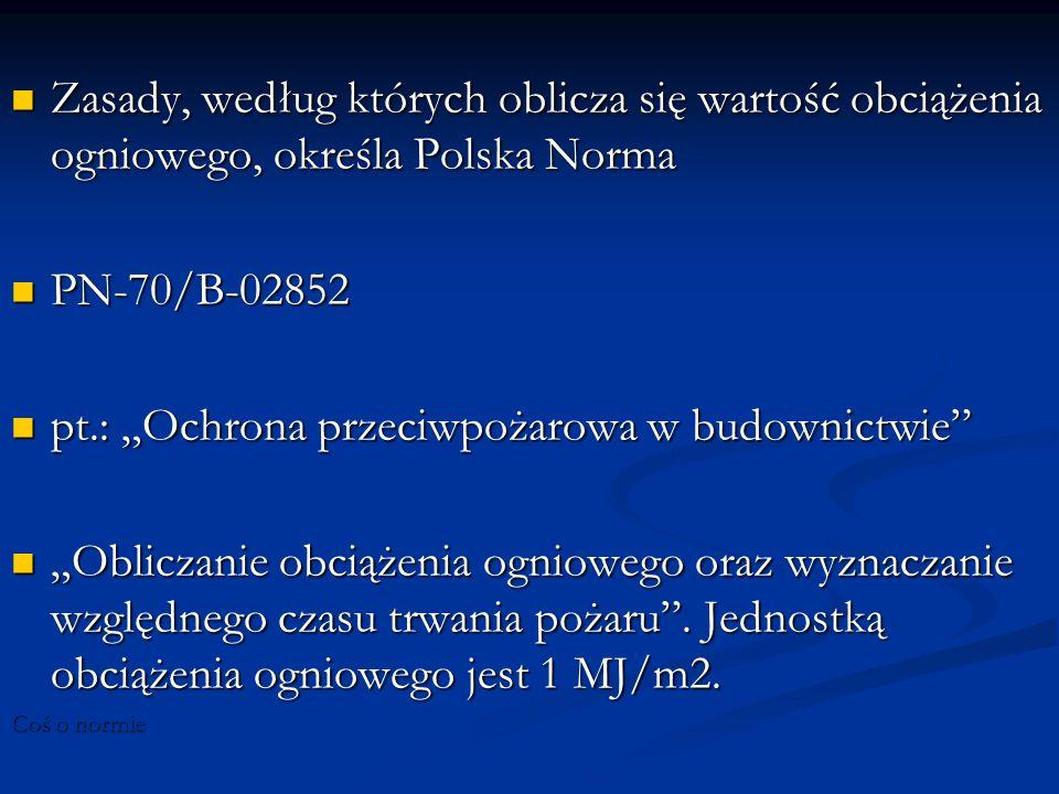 Zasady, według których oblicza się wartość obciążenia ogniowego, określa Polska Norma Zasady, według których oblicza się wartość obciążenia ogniowego,