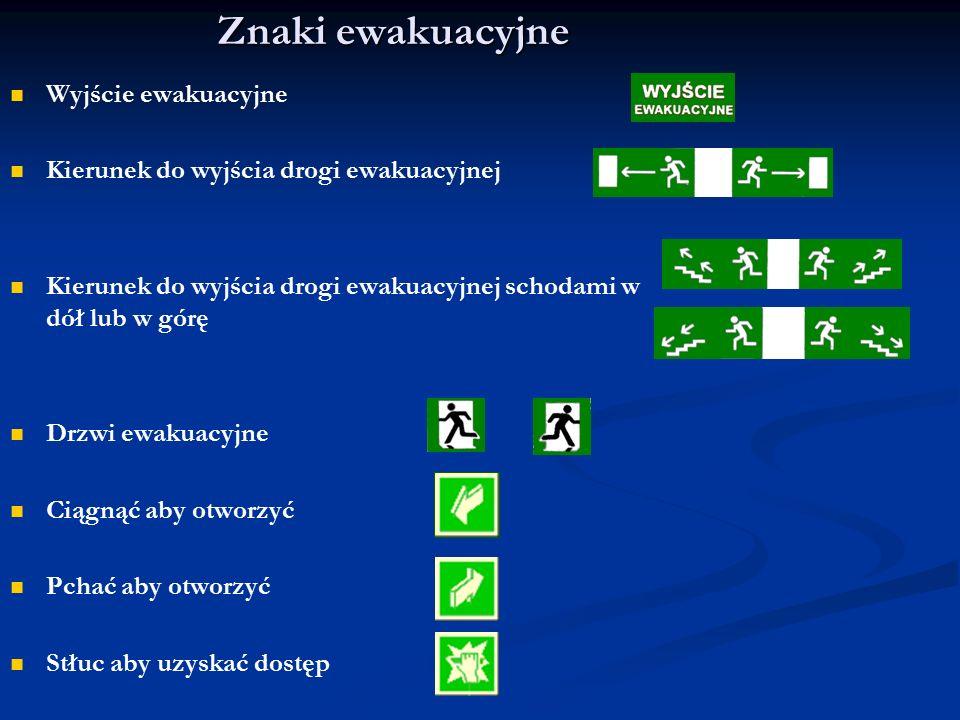 Znaki ewakuacyjne Wyjście ewakuacyjne Kierunek do wyjścia drogi ewakuacyjnej Kierunek do wyjścia drogi ewakuacyjnej schodami w dół lub w górę Drzwi ew