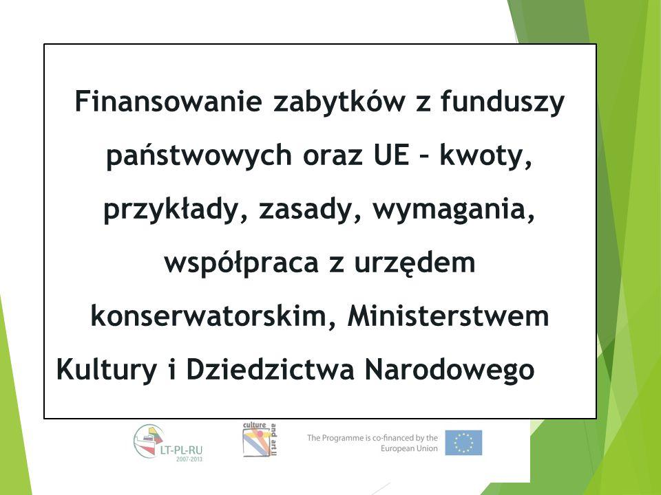 Finansowanie zabytków z funduszy państwowych oraz UE – kwoty, przykłady, zasady, wymagania, współpraca z urzędem konserwatorskim, Ministerstwem Kultury i Dziedzictwa Narodowego