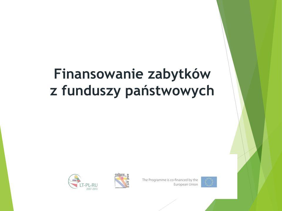 Finansowanie zabytków z funduszy państwowych