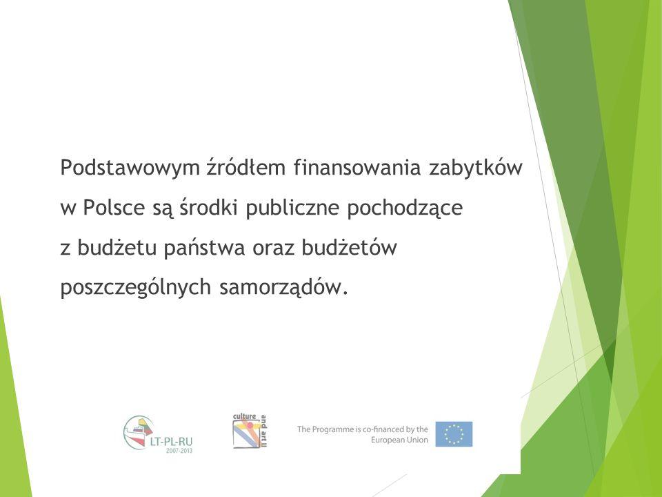 Podstawowym źródłem finansowania zabytków w Polsce są środki publiczne pochodzące z budżetu państwa oraz budżetów poszczególnych samorządów.