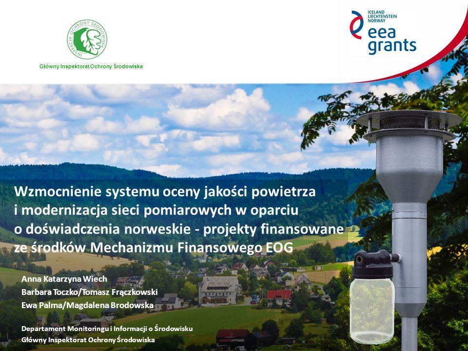 Projekt 1 Wzmocnienie systemu oceny jakości powietrza w Polsce w oparciu o doświadczenia norweskie Projekt 2 Wzmocnienie potencjału technicznego inspekcji ochrony środowiska poprzez zakup urządzeń pomiarowych, wyposażenia laboratoryjnego i narzędzi informatycznych