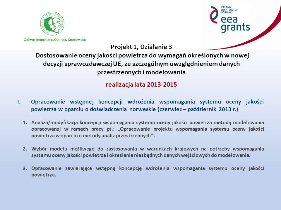 Główny Inspektorat Ochrony Środowiska Projekt 1, Działanie 3 Dostosowanie oceny jakości powietrza do wymagań określonych w nowej decyzji sprawozdawczej UE, ze szczególnym uwzględnieniem danych przestrzennych i modelowania realizacja lata 2013-2015 I.Opracowanie wstępnej koncepcji wdrożenia wspomagania systemu oceny jakości powietrza w oparciu o doświadczenia norweskie (czerwiec – październik 2013 r.) 1.