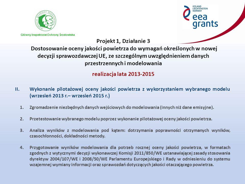 Główny Inspektorat Ochrony Środowiska Projekt 1, Działanie 3 Dostosowanie oceny jakości powietrza do wymagań określonych w nowej decyzji sprawozdawcze