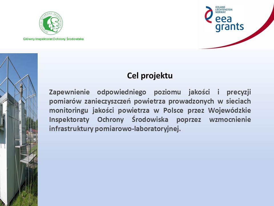 Główny Inspektorat Ochrony Środowiska Cel projektu Zapewnienie odpowiedniego poziomu jakości i precyzji pomiarów zanieczyszczeń powietrza prowadzonych