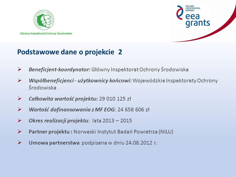 Główny Inspektorat Ochrony Środowiska Podstawowe dane o projekcie 2  Beneficjent-koordynator: Główny Inspektorat Ochrony Środowiska  Współbeneficjenci - użytkownicy końcowi: Wojewódzkie Inspektoraty Ochrony Środowiska  Całkowita wartość projektu: 29 010 125 zł  Wartość dofinansowania z MF EOG: 24 658 606 zł  Okres realizacji projektu: lata 2013 – 2015  Partner projektu : Norweski Instytut Badań Powietrza (NILU)  Umowa partnerstwa podpisana w dniu 24.08.2012 r.