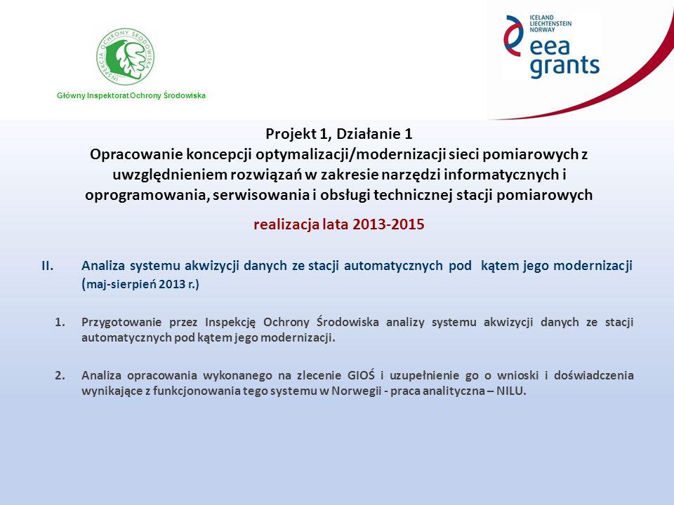 Główny Inspektorat Ochrony Środowiska Projekt 1, Działanie 1 Opracowanie koncepcji optymalizacji/modernizacji sieci pomiarowych z uwzględnieniem rozwiązań w zakresie narzędzi informatycznych i oprogramowania, serwisowania i obsługi technicznej stacji pomiarowych realizacja lata 2013-2015 III.