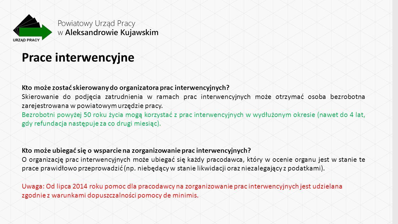 Prace interwencyjne Kto może zostać skierowany do organizatora prac interwencyjnych.