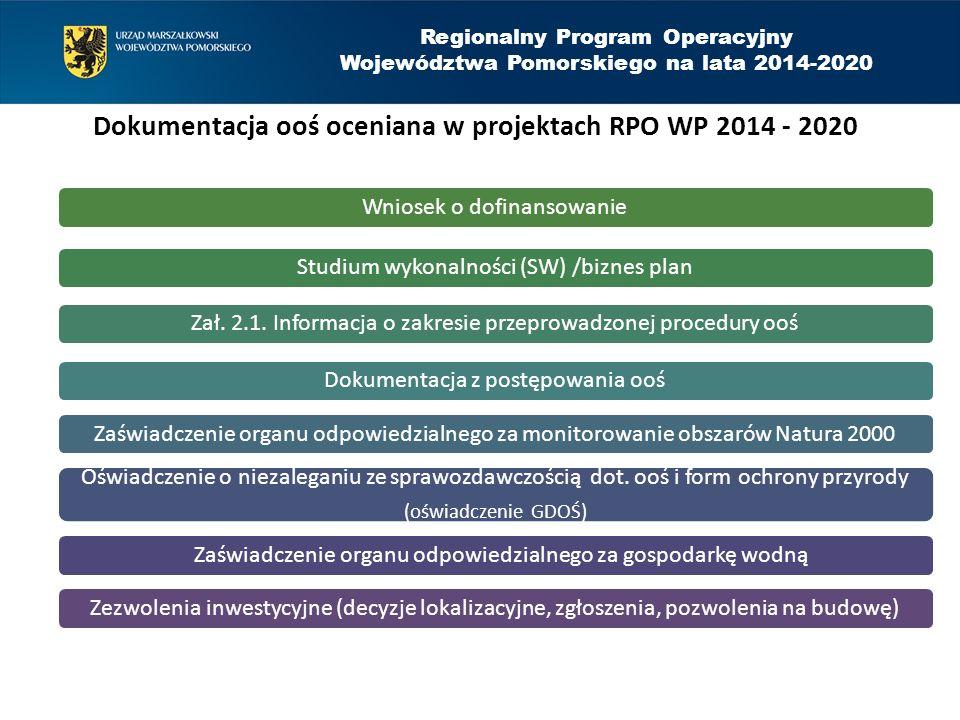 Regionalny Program Operacyjny Województwa Pomorskiego na lata 2014-2020 Dokumentacja ooś oceniana w projektach RPO WP 2014 - 2020 Wniosek o dofinansow
