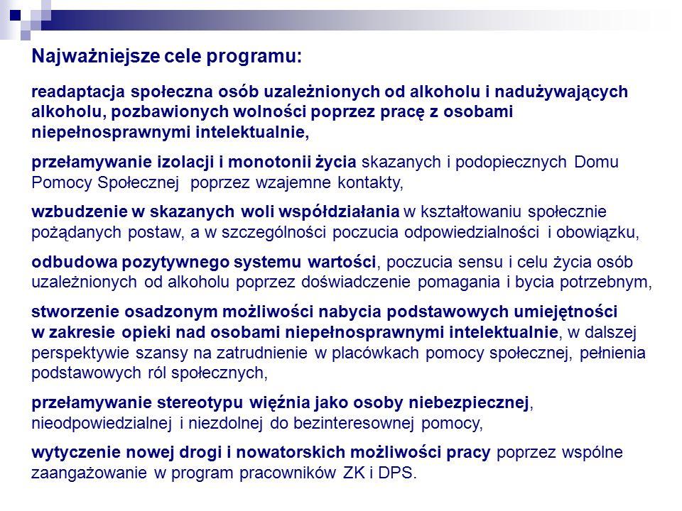 Najważniejsze cele programu: readaptacja społeczna osób uzależnionych od alkoholu i nadużywających alkoholu, pozbawionych wolności poprzez pracę z osobami niepełnosprawnymi intelektualnie, przełamywanie izolacji i monotonii życia skazanych i podopiecznych Domu Pomocy Społecznej poprzez wzajemne kontakty, wzbudzenie w skazanych woli współdziałania w kształtowaniu społecznie pożądanych postaw, a w szczególności poczucia odpowiedzialności i obowiązku, odbudowa pozytywnego systemu wartości, poczucia sensu i celu życia osób uzależnionych od alkoholu poprzez doświadczenie pomagania i bycia potrzebnym, stworzenie osadzonym możliwości nabycia podstawowych umiejętności w zakresie opieki nad osobami niepełnosprawnymi intelektualnie, w dalszej perspektywie szansy na zatrudnienie w placówkach pomocy społecznej, pełnienia podstawowych ról społecznych, przełamywanie stereotypu więźnia jako osoby niebezpiecznej, nieodpowiedzialnej i niezdolnej do bezinteresownej pomocy, wytyczenie nowej drogi i nowatorskich możliwości pracy poprzez wspólne zaangażowanie w program pracowników ZK i DPS.