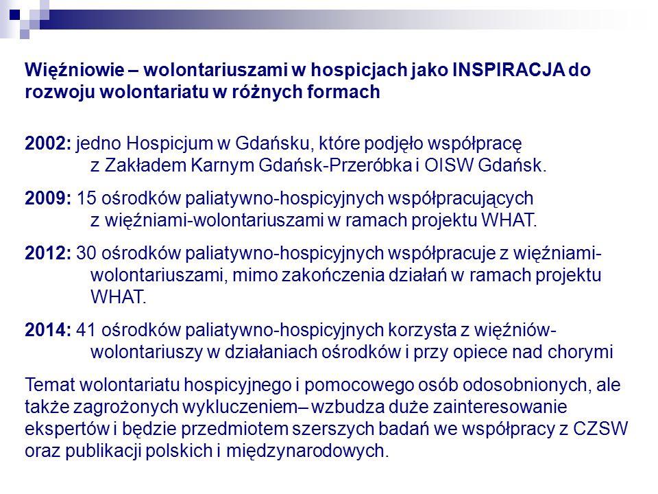 Więźniowie – wolontariuszami w hospicjach jako INSPIRACJA do rozwoju wolontariatu w różnych formach 2002: jedno Hospicjum w Gdańsku, które podjęło współpracę z Zakładem Karnym Gdańsk-Przeróbka i OISW Gdańsk.