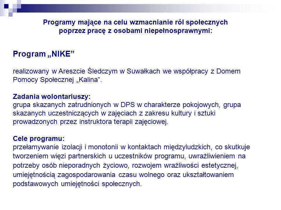 """Program """"NIKE realizowany w Areszcie Śledczym w Suwałkach we współpracy z Domem Pomocy Społecznej """"Kalina ."""