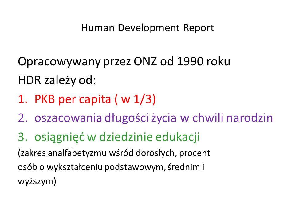 Human Development Report Opracowywany przez ONZ od 1990 roku HDR zależy od: 1.PKB per capita ( w 1/3) 2.oszacowania długości życia w chwili narodzin 3