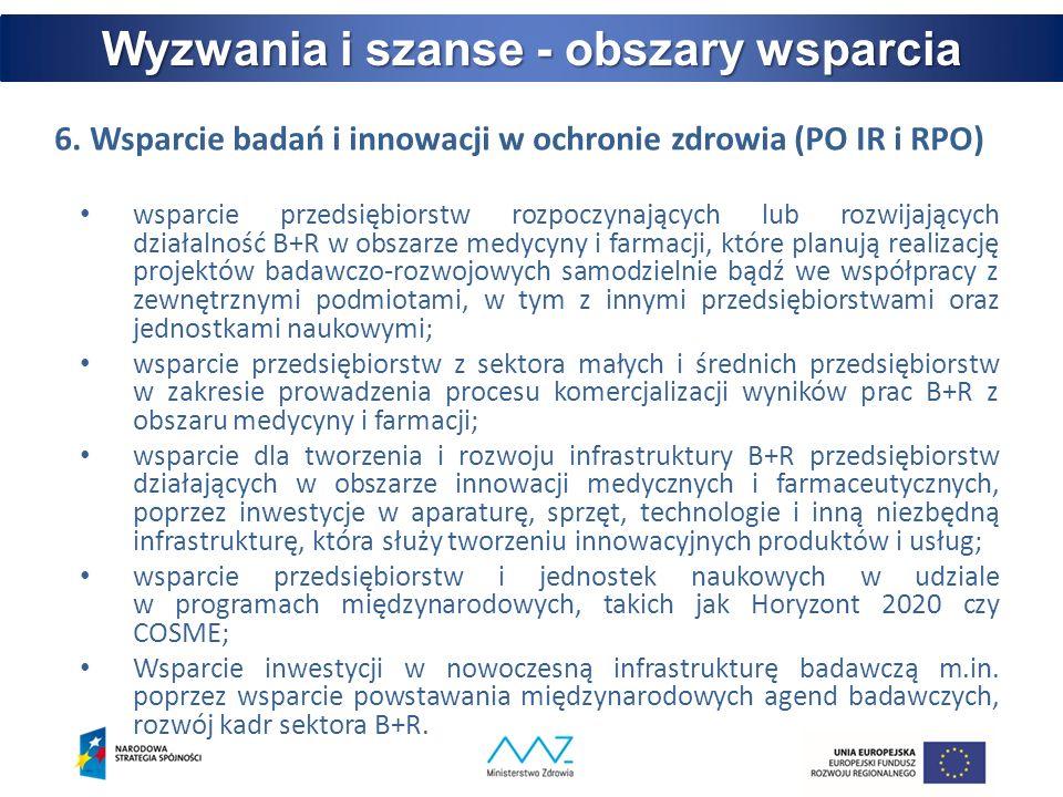 6. Wsparcie badań i innowacji w ochronie zdrowia (PO IR i RPO) wsparcie przedsiębiorstw rozpoczynających lub rozwijających działalność B+R w obszarze