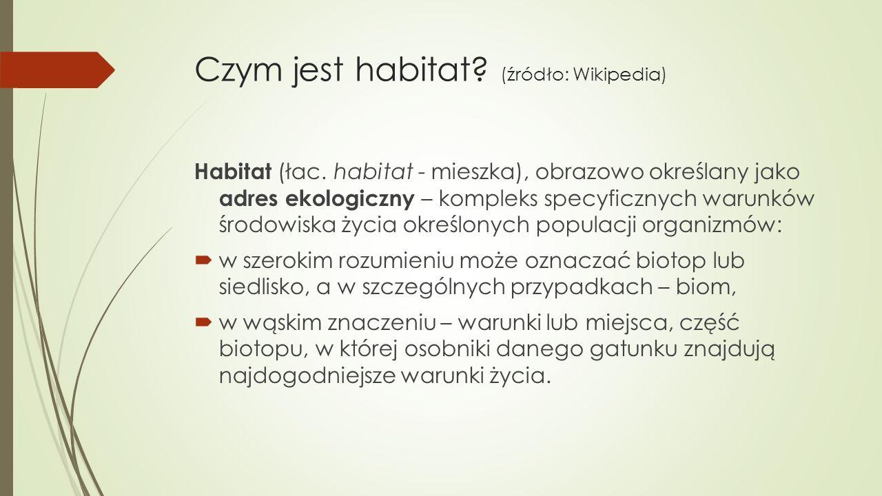Czym jest habitat. (źródło: Wikipedia) Habitat (łac.
