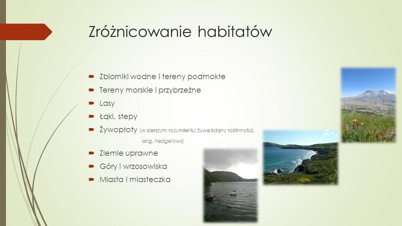Zróżnicowanie habitatów  Zbiorniki wodne i tereny podmokłe  Tereny morskie i przybrzeżne  Lasy  Łąki, stepy  Żywopłoty (w szerszym rozumieniu: żywe ściany roślinności, ang.