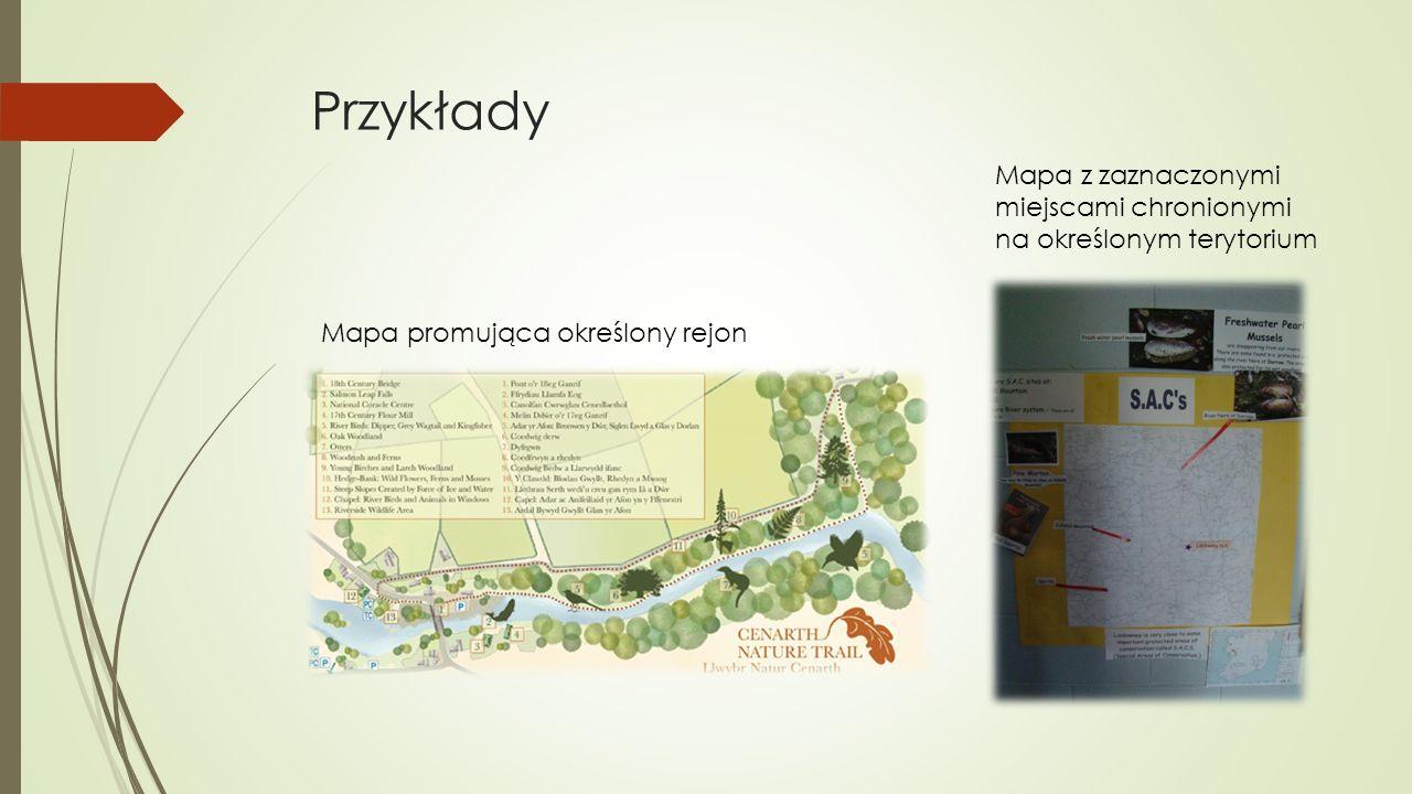 Przykłady Mapa promująca określony rejon Mapa z zaznaczonymi miejscami chronionymi na określonym terytorium