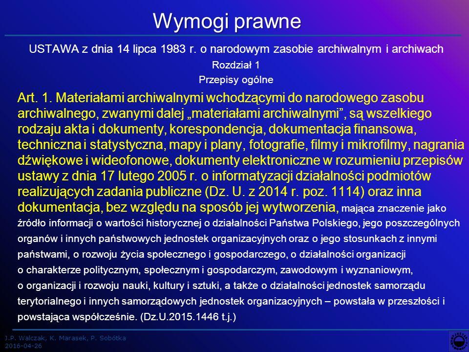 J.P. Walczak, K. Marasek, P. Sobótka 2016-04-26 Wymogi prawne USTAWA z dnia 14 lipca 1983 r.