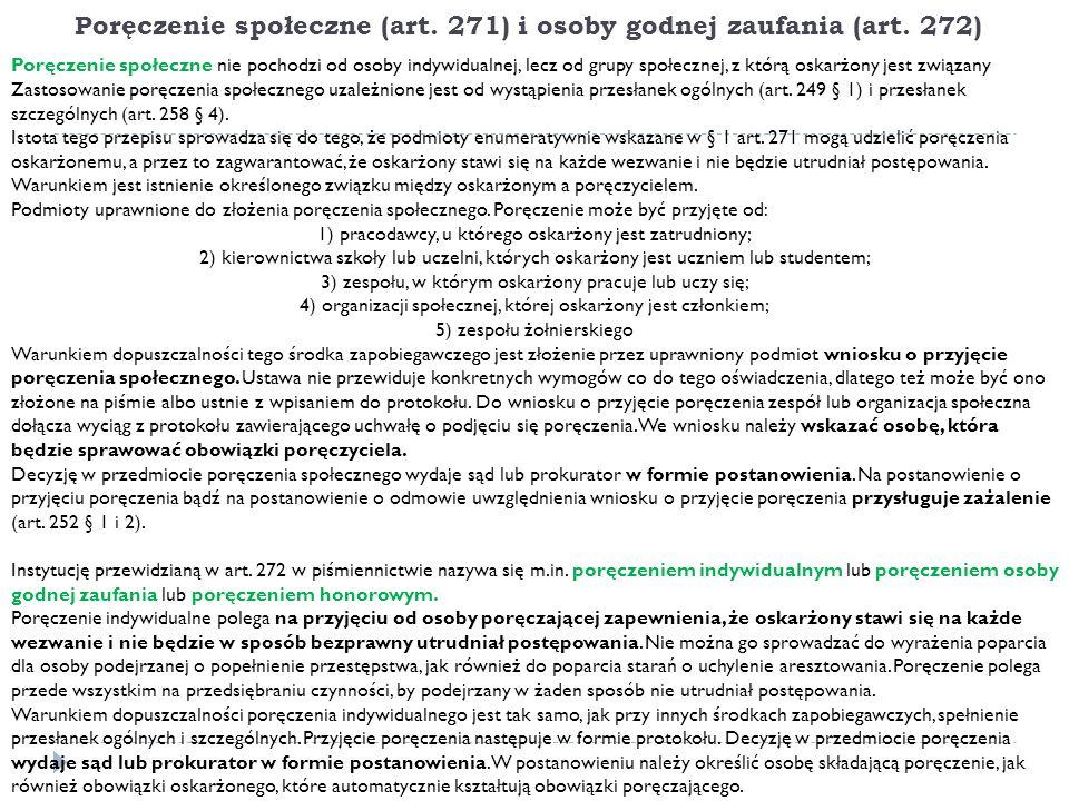 Poręczenie społeczne (art. 271) i osoby godnej zaufania (art.