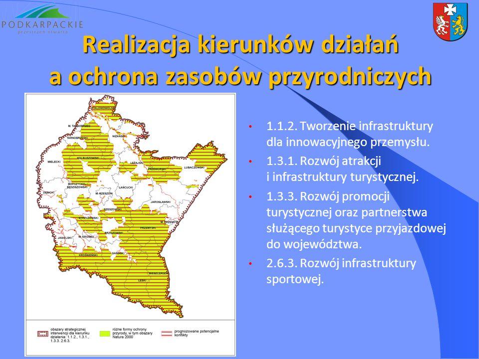 1.1.2. Tworzenie infrastruktury dla innowacyjnego przemysłu. 1.3.1. Rozwój atrakcji i infrastruktury turystycznej. 1.3.3. Rozwój promocji turystycznej