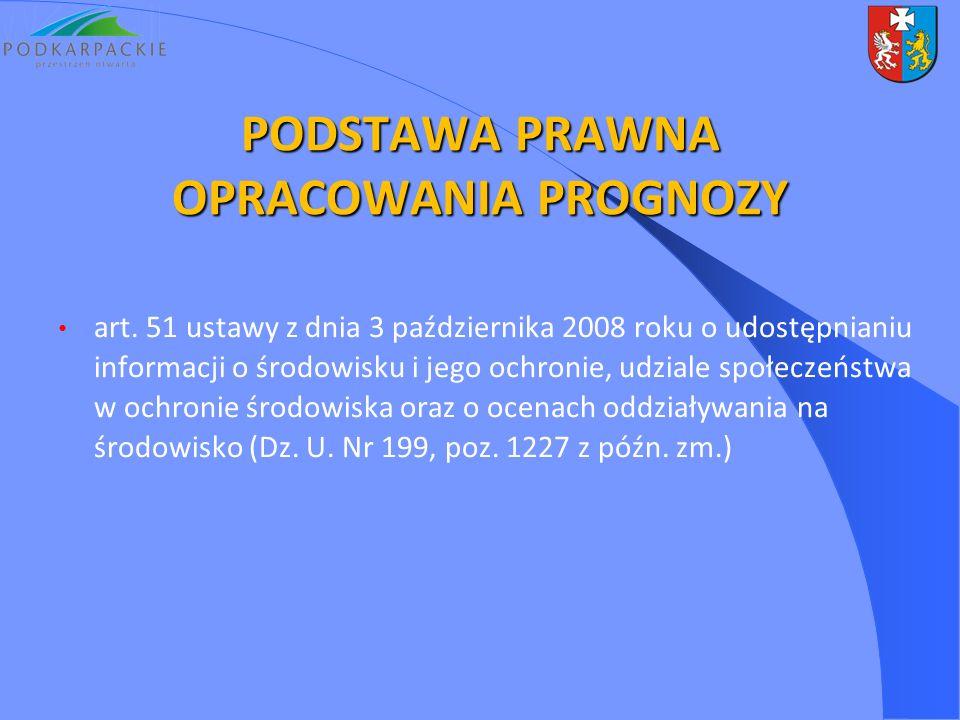 PODSTAWA PRAWNA OPRACOWANIA PROGNOZY art. 51 ustawy z dnia 3 października 2008 roku o udostępnianiu informacji o środowisku i jego ochronie, udziale s