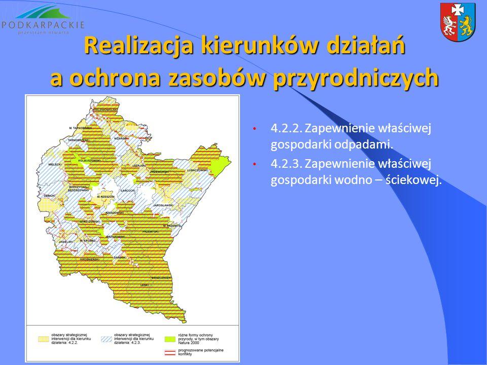 4.2.2. Zapewnienie właściwej gospodarki odpadami. 4.2.3. Zapewnienie właściwej gospodarki wodno – ściekowej. Realizacja kierunków działań a ochrona za
