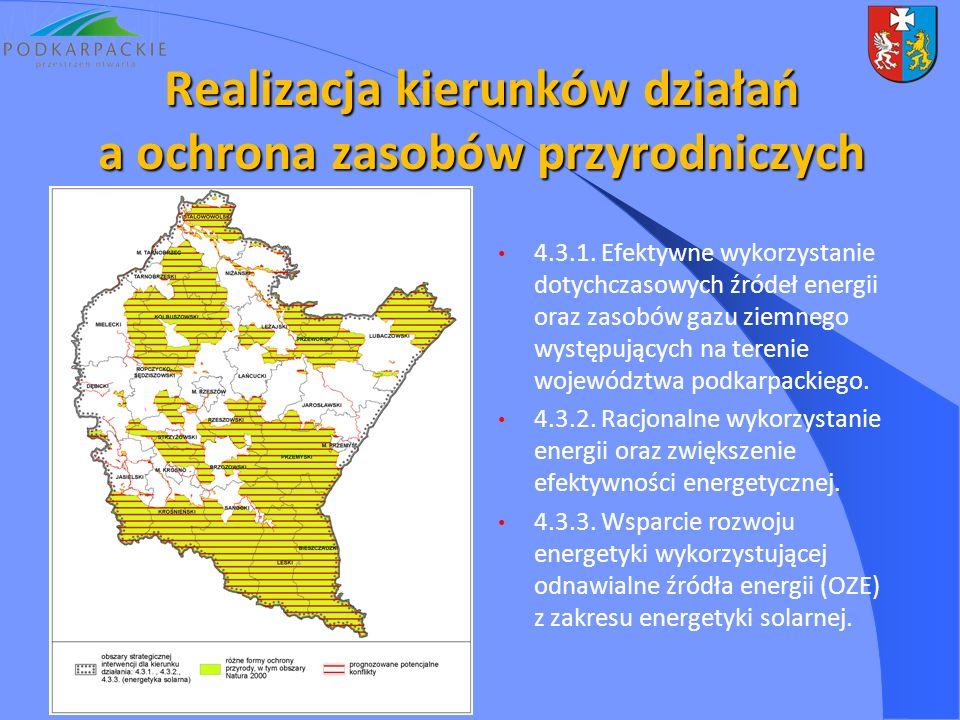 4.3.1. Efektywne wykorzystanie dotychczasowych źródeł energii oraz zasobów gazu ziemnego występujących na terenie województwa podkarpackiego. 4.3.2. R