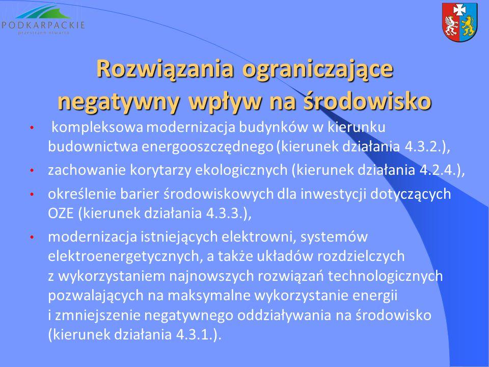 Rozwiązania ograniczające negatywny wpływ na środowisko kompleksowa modernizacja budynków w kierunku budownictwa energooszczędnego (kierunek działania 4.3.2.), zachowanie korytarzy ekologicznych (kierunek działania 4.2.4.), określenie barier środowiskowych dla inwestycji dotyczących OZE (kierunek działania 4.3.3.), modernizacja istniejących elektrowni, systemów elektroenergetycznych, a także układów rozdzielczych z wykorzystaniem najnowszych rozwiązań technologicznych pozwalających na maksymalne wykorzystanie energii i zmniejszenie negatywnego oddziaływania na środowisko (kierunek działania 4.3.1.).