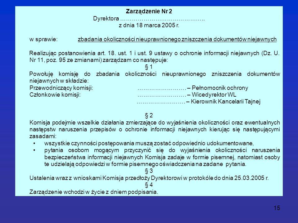 15 Zarządzenie Nr 2 Dyrektora …………………………………….. z dnia 18 marca 2005 r.