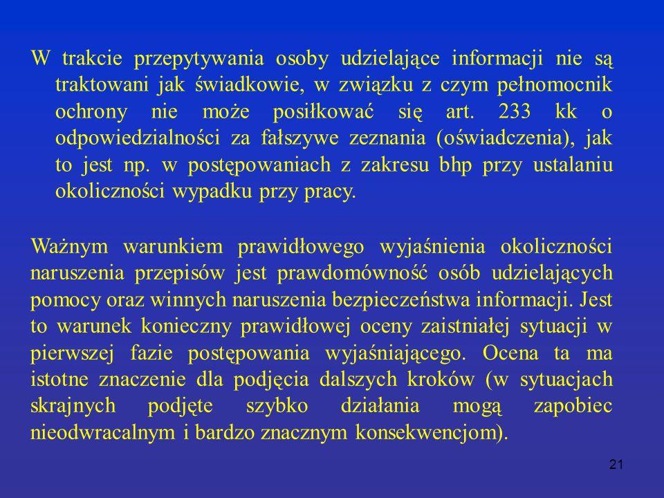 21 W trakcie przepytywania osoby udzielające informacji nie są traktowani jak świadkowie, w związku z czym pełnomocnik ochrony nie może posiłkować się art.