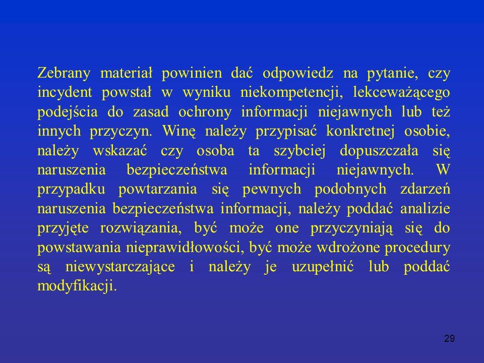 29 Zebrany materiał powinien dać odpowiedz na pytanie, czy incydent powstał w wyniku niekompetencji, lekceważącego podejścia do zasad ochrony informacji niejawnych lub też innych przyczyn.