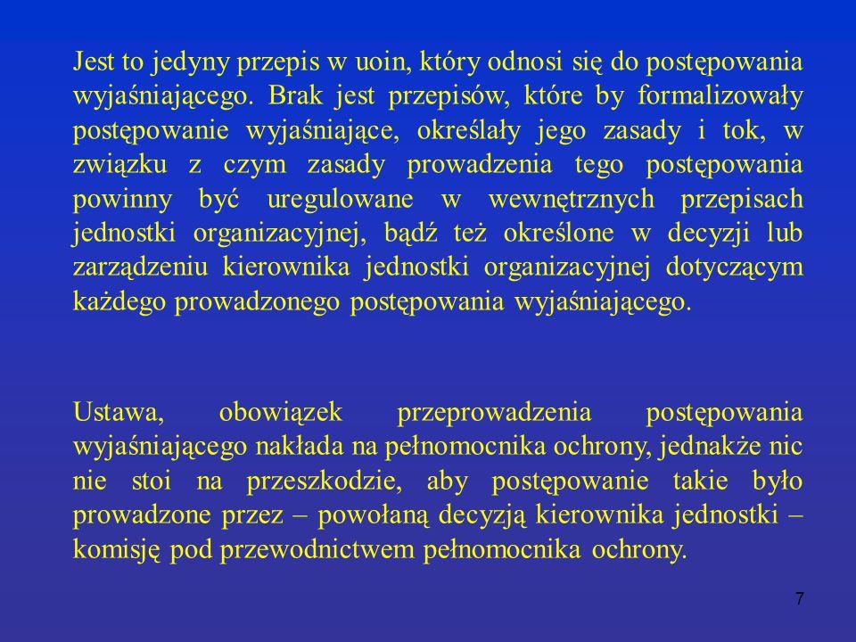 7 Jest to jedyny przepis w uoin, który odnosi się do postępowania wyjaśniającego.