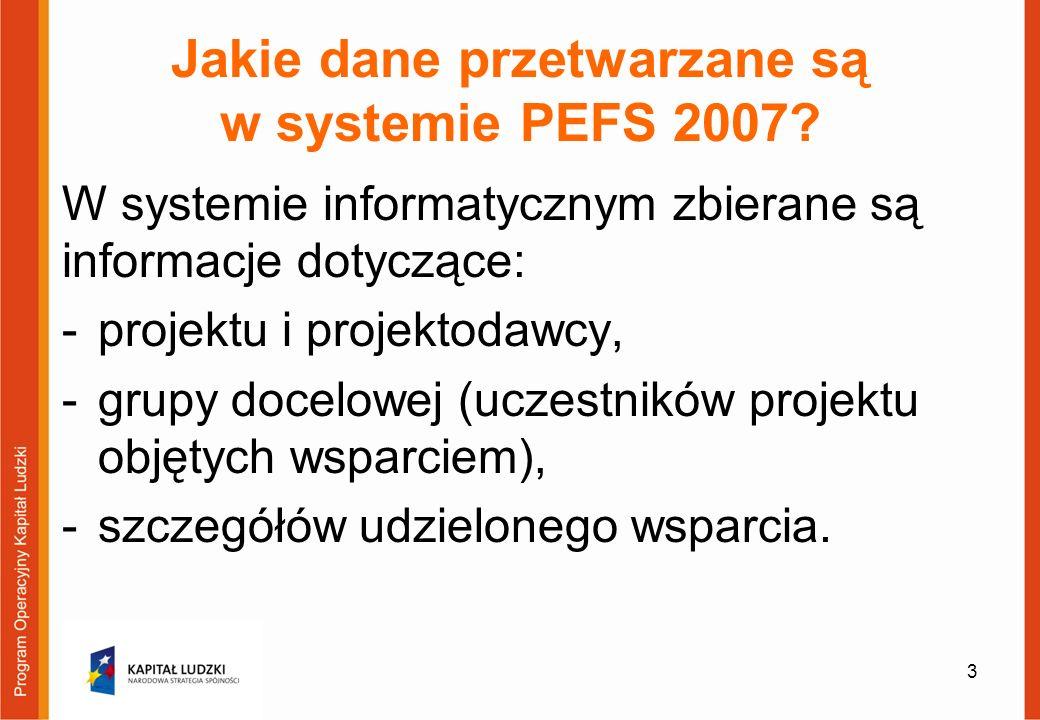 Jakie dane przetwarzane są w systemie PEFS 2007.