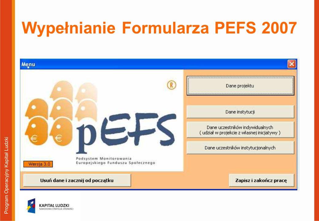 Wypełnianie Formularza PEFS 2007