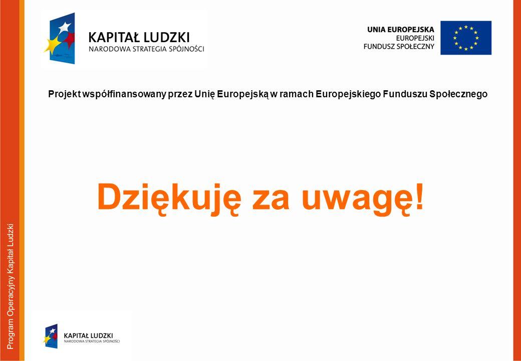 Projekt współfinansowany przez Unię Europejską w ramach Europejskiego Funduszu Społecznego Dziękuję za uwagę!