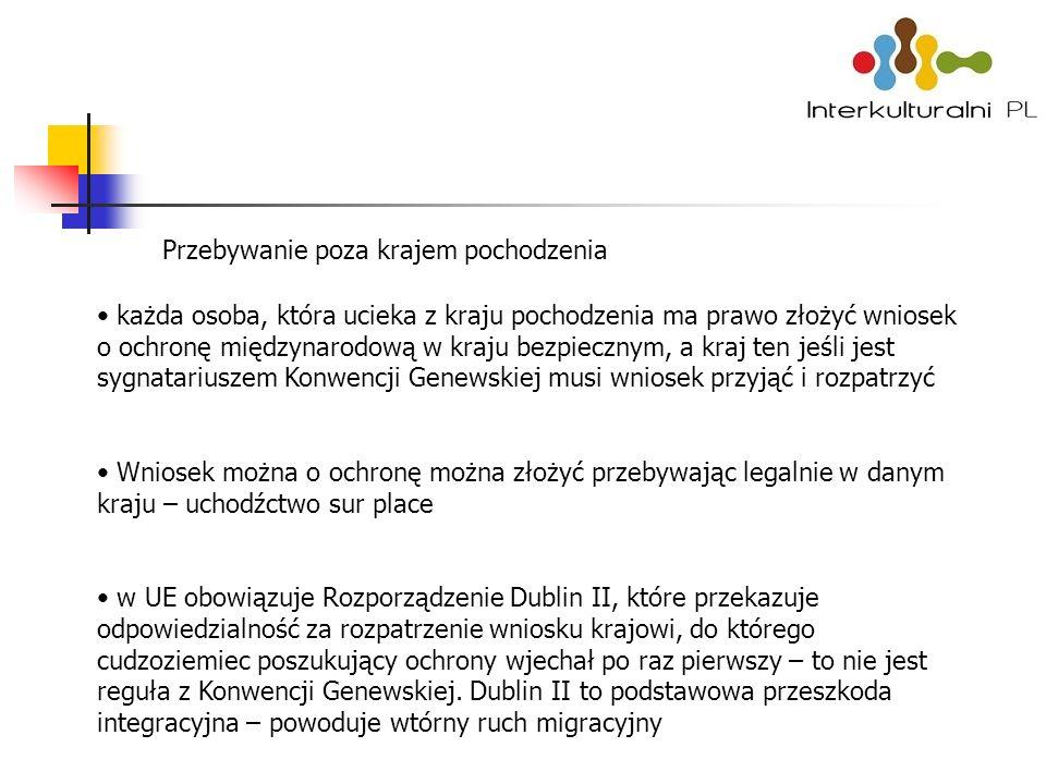 Przebywanie poza krajem pochodzenia każda osoba, która ucieka z kraju pochodzenia ma prawo złożyć wniosek o ochronę międzynarodową w kraju bezpiecznym, a kraj ten jeśli jest sygnatariuszem Konwencji Genewskiej musi wniosek przyjąć i rozpatrzyć Wniosek można o ochronę można złożyć przebywając legalnie w danym kraju – uchodźctwo sur place w UE obowiązuje Rozporządzenie Dublin II, które przekazuje odpowiedzialność za rozpatrzenie wniosku krajowi, do którego cudzoziemiec poszukujący ochrony wjechał po raz pierwszy – to nie jest reguła z Konwencji Genewskiej.