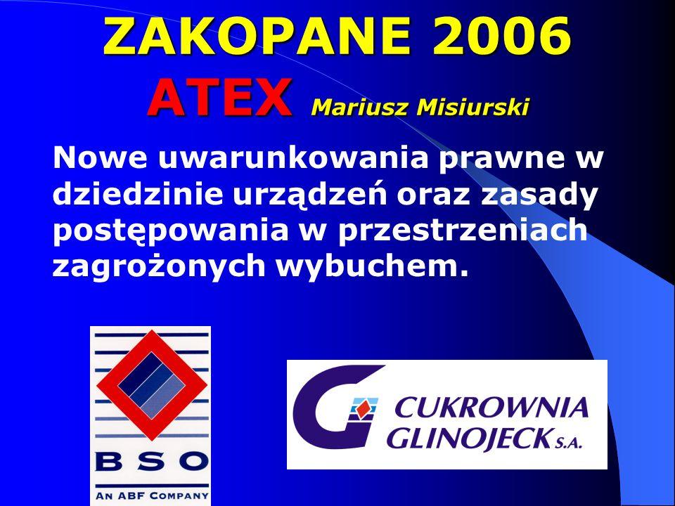 ZAKOPANE 2006 ATEX Mariusz Misiurski Nowe uwarunkowania prawne w dziedzinie urządzeń oraz zasady postępowania w przestrzeniach zagrożonych wybuchem.