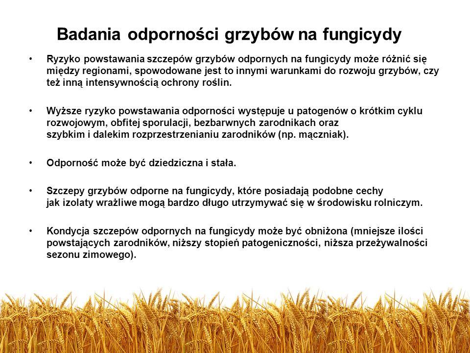 Ryzyko powstawania szczepów grzybów odpornych na fungicydy może różnić się między regionami, spowodowane jest to innymi warunkami do rozwoju grzybów,